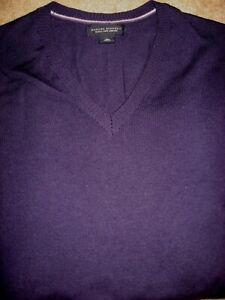 Mens Purple BANANA REPUBLIC Wool V-Neck Long Sleeve Knit Shirt Large