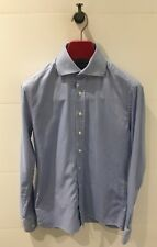 CAFE COTON Sky Blue Birdseye-Weave Shirt - 100% Cotton - Size 37 / 14.5 Neck