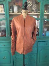 Jackson Brunt Orange Copper Womens Small Bomber Jacket Trendy Zip Up Front 5C