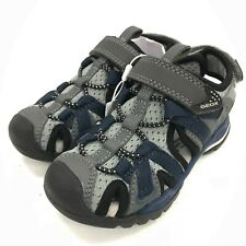 New Geox Grey & Navy Chidrens Cut Out Strap Sandals Size Euro 25 UK 7.5 341269
