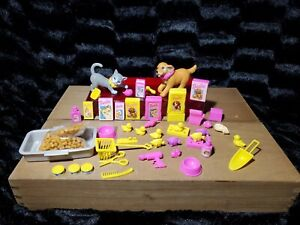 Barbie HUGE PETS LOT Dog Cat Accessories Food 46 Pc Lot