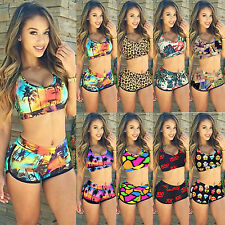 Stylish Women's Printed Swimsuit Crop Top Bottom Bikini Set Swimwear Beachwear