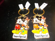 2 DISNEY KEYRINGS/ KEYCHAINS NEW WITH TAGS mickey mouse and minnie
