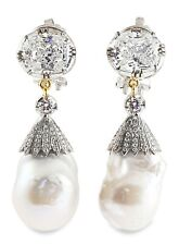 925 Sterling Silver Victorian Style Baroque Pearl Handmade CZ Dangle Earrings