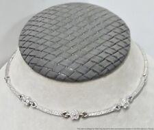 Vintage 18K White Gold 1.50ctw Fine White VS Diamond Floral Station Necklace