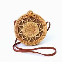 Circular Straw Handbag Women Round Bohemian Bag Rattan Handmade Woven String