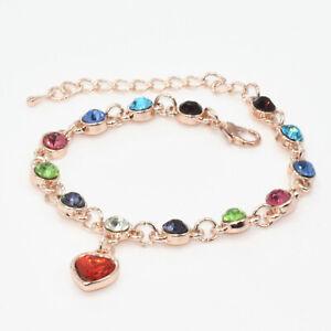 Women Multicolor Crystal Fashion Jewelry 18K Gold Plated Charm Bracelet Wedding