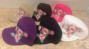 Studded Flower Roses Fashion Cadet Cap Adjustable Choose Color NEW