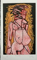 LUIS MIGUEL VALDES n154 Cuban Art Hand-Signed Original Limited Edition Woodcut