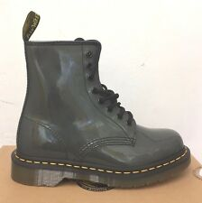 DR. MARTENS 1460 GREY  PATENT  LAMPER  LEATHER  BOOTS SIZE UK 3