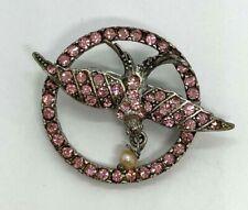 Vintage Silver Tone Rhinestone Pilgrim Skanderborg Dove Brooch Pin Jewelry