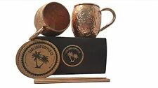 NEW! Handcrafted Moscow Mule Mugs Gift Set of 2: 100% Pure Copper 16oz Cups and