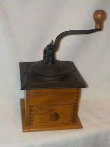 Large Antique Wood/Cast Iron Coffee Grinder