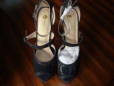 Chase & Chloe Jaylen-1 Black, Lace/Embellished, Open Toe, High Heel Size: 10 NIB