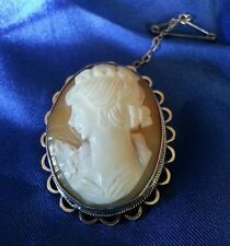 A Vintage oval shell cameo, in a sterling silver mount. Birmingham 1976