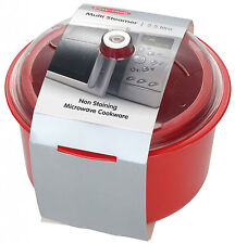 Pendeford EASY COOK  Microwave Multi-Steamer -  Rice and Vegetables 2.5L  in red