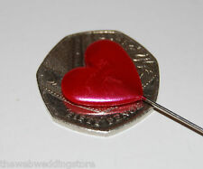 Corsage Pins Pack of 10 Red Heart (20mm head) 90mm long