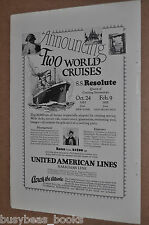 1925 United American Lines advertisement, S.S. Resolute World cruise ocean liner