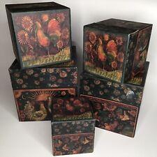Bob's Boxes Primitive Rise & Shine Set of 5 Nesting Boxes R A Lang Susan Winget