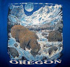 Oregon Scenic Bear Fishing River Mountain Nature Wilderness Blue T-Shirt Size M