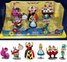 ALICE IN WONDERLAND Figurine Playset 6 Figures CAKE TOPPERS Mad Hatter GLITTERY