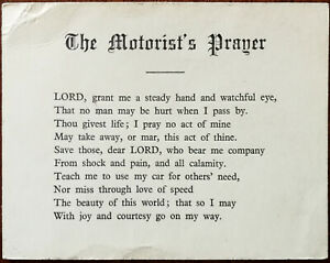 The Motorist's Prayer  1960's Valentine & Sons Ltd.  Prayer Card