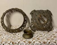 2 Cast Iron Architectural Antique Piece Decorative Metal Salvage Patina