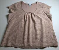 Liz Claiborne Women Short Sleeve Blouse Top 1X Plus Pink Lace Scoopneck Romantic
