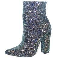 scarpe tronchetto donna a punta glitterato nero effetto riflettente tacco largo