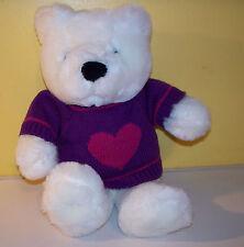 "Just Friends~12"" White Teddy Bear Maroon Heart Sweater~ Plush Stuffed Animal"