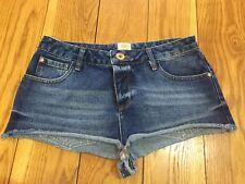 River Island Denim Shorts 12 W30 Dark Blue Jean Hotpant Summer Holiday Festival
