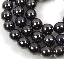 50 Czech Glass Round Beads - Hematite 6mm