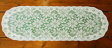 "LACE WHITE & GREEN TABLE RUNNER - POINSETTIA CHRISTMAS HOLIDAY DINNER 13""WX39""L"