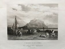 1836 Antique Print; St Michael's Mount, Cornwall after Stanfield