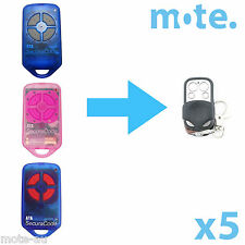 5 x ATA PTX4 Compatible Garage/Gate Door Remote GDO 2v5/2v6/2v7/4v3/4v4/4v5/4v6