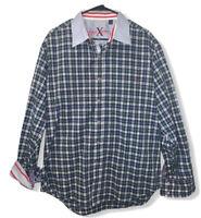 Robert Graham X Men's Blue Plaid Flip Cuff Contrast Collar Button Front Shirt XL