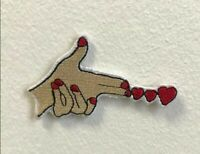 Firing heart love art badge Embroidered Iron on Sew on Patch