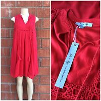 She & Sky Valentine's Ruby Red Gauze Trapeze Dress Fully Lined Retails $55.00