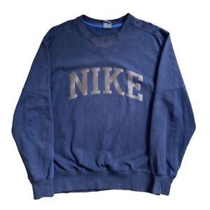 Vintage Nike Sweatshirt | Large L | Navy Blue 00s Spell Out Centre Logo Jumper