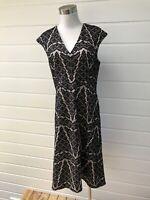 SABA Black Lace Cap Sleeve Fit & Flare Midi Dress - Size 12