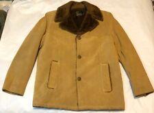 Vtg 70's Silton Mens Brown Suede Leather Sherpa Fur Size L 44 Jacket Barn Coat