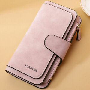 Ladies Faux Leather Wallet Coin Purse Card Holder Magnetic Button Handbag Gifts