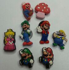 Mario Luigi & Game Friends 8pc SHOE CHARMS LOT FOR CROC SHOES JIBBITZ BRACELETS