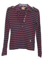 Tory Burch Women's Red Navy Blue Stripe Button Up Long Sleeve Shirt Top sz XS NK