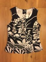 East Black and White Linen Button Back Top UK Size 10