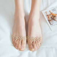 Women Breathable Lace Flower Short Antiskid Invisible Ankle Low Cut Boat Socks