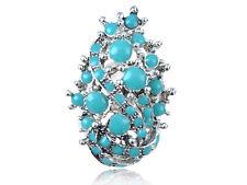 Antique Inspired Silver Faux Turquoise Bursting Aquatic Sea Foam Adjustable Ring