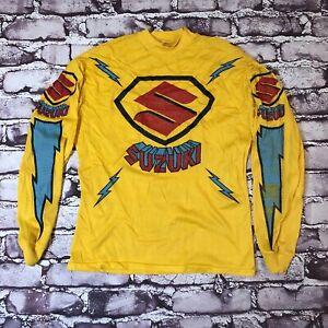 Vintage 80s Suzuki Motocross Racing Jersey Shirt Motox Mesh Long Sleeve Rare