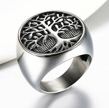 Tree of Life Mens 316L Silver Stainless Steel Rings Promise Wedding Finger Band