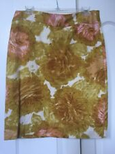 Talbots 14 P Petites Pencil Skirt Yellow Pink Floral Textured
